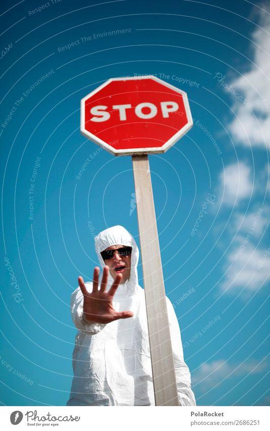 #AS# halt stop, jetzt rede ich! Mensch maskulin Junger Mann Jugendliche vernünftig stoppen Stoppschild weiß Kostüm Hand Aufenthalt Demonstration Aggression