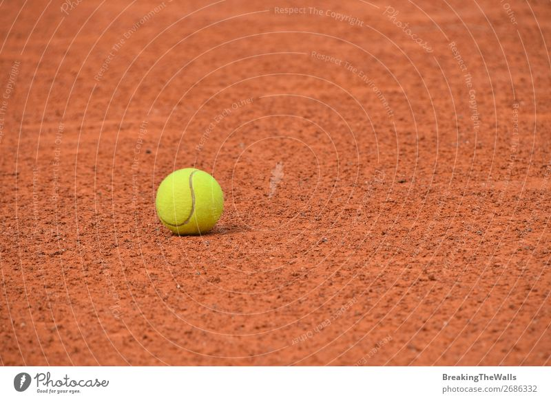 Gelber Tennisball auf rotem Tonboden Sport Ballsport Stadion dreckig braun gelb Konkurrenz Gerichtsgebäude Boden Aussicht Arena Feld Gummi Filz Sandplatz 1