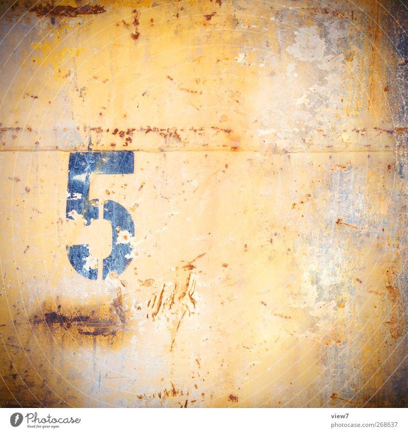5 alt Farbe gelb Metall Zeit Ordnung Beginn Design ästhetisch authentisch Wandel & Veränderung Ziffern & Zahlen Vergänglichkeit einfach Ende rein