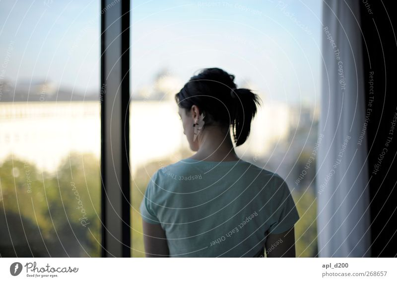 Ausblick Mensch feminin Junge Frau Jugendliche 1 18-30 Jahre Erwachsene Wien Österreich Europa Stadtzentrum Haus Bauwerk Gebäude T-Shirt Haare & Frisuren