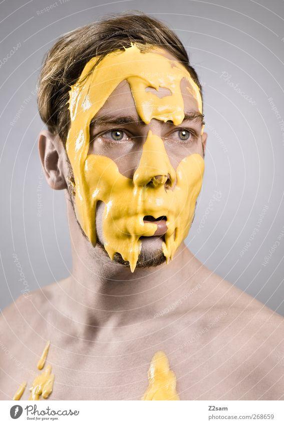 deformiert elegant Haut Mensch maskulin Junger Mann Jugendliche 1 18-30 Jahre Erwachsene Haare & Frisuren blond kurzhaarig Blick träumen ästhetisch dreckig Ekel