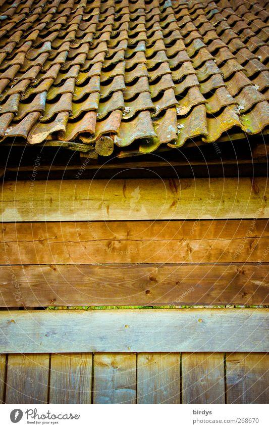 old style alt Wärme braun Fassade authentisch Dach Hütte positiv Nostalgie Originalität Holzwand Stall Dachziegel Holzhütte Wellenform Ziegeldach