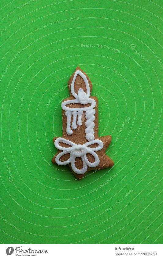 Lebkuchenkerze Weihnachten & Advent grün Freundschaft frisch liegen genießen verrückt Warmherzigkeit beobachten Zeichen Kerze Backwaren Süßwaren erleuchten