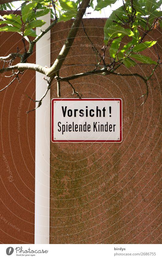 Vorwarnung oder Achtsamkeit ? Spielen Kind Kindheit Baum Ast Spielplatz Mauer Wand Schriftzeichen Hinweisschild Warnschild authentisch bedrohlich einzigartig