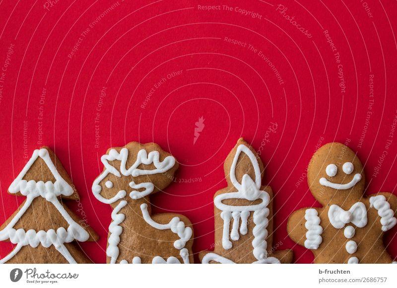 Weihnachts-Lebkuchen Weihnachten & Advent rot Baum Feste & Feiern süß frisch genießen Papier lecker Kerze Backwaren Süßwaren Postkarte wählen Figur Teigwaren