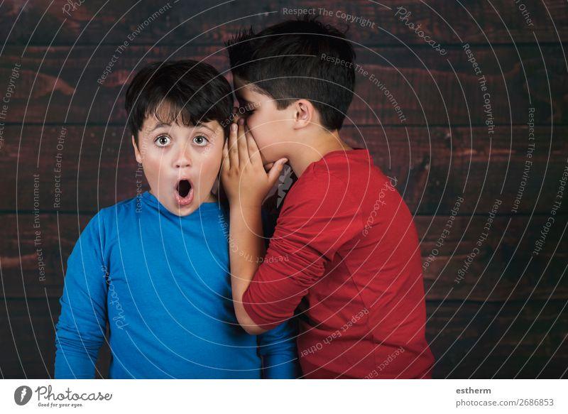 Porträt von zwei Jungen, die ein Geheimnis flüstern. Lifestyle sprechen Mensch maskulin Kind Geschwister Bruder Freundschaft Kindheit 2 8-13 Jahre Bewegung