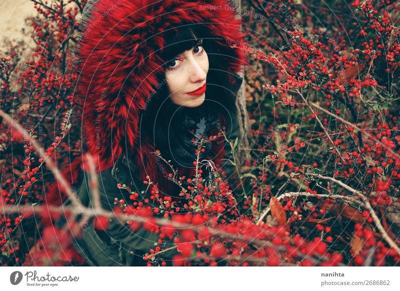 schöne junge brünette Frau in rot Lifestyle Stil Gesicht Winter Mensch feminin Erwachsene Jugendliche 1 18-30 Jahre Natur Herbst Sträucher Wald Mantel