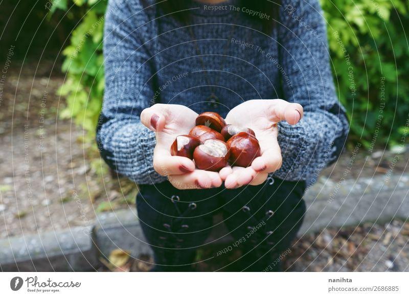 Nahaufnahme von Kastanien an den Händen einer jungen Frau Lebensmittel Lifestyle Stil Glück schön Erholung ruhig Mensch feminin Erwachsene Hand 1 18-30 Jahre