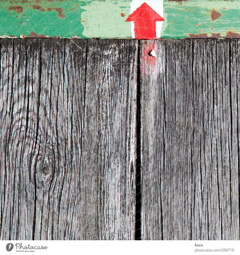 Auf dem Holzweg alt weiß grün rot schwarz oben Holz Wege & Pfade Metall Linie braun Schilder & Markierungen Beginn Erfolg Wachstum Hinweisschild
