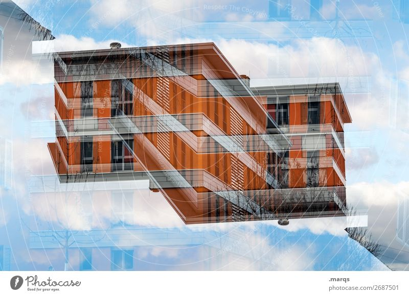 Haus (freistehend) Lifestyle Himmel Wolken Bauwerk Gebäude Architektur Fassade außergewöhnlich modern orange rot Perspektive Surrealismus Symmetrie