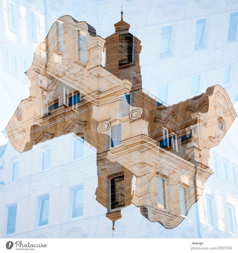 Barock Stil Himmel Haus Bauwerk Gebäude Architektur Fassade alt ästhetisch außergewöhnlich historisch verrückt Ordnung Perspektive Irritation Doppelbelichtung