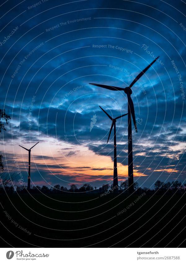 energie Wirtschaft Energiewirtschaft Technik & Technologie High-Tech Erneuerbare Energie Windkraftanlage Industrie Landschaft Himmel Wolken Sonnenaufgang