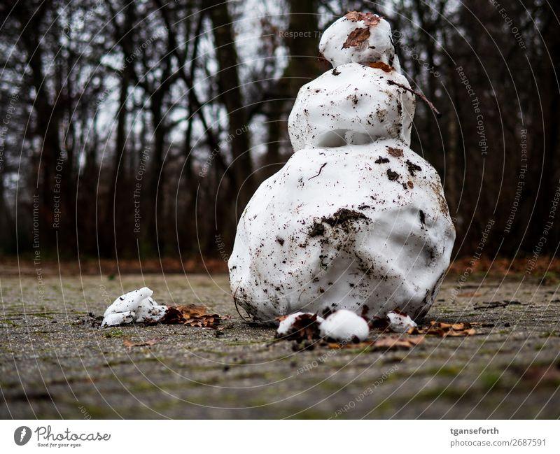 schmelzender Schneemann Freizeit & Hobby Spielen Skulptur Natur Frühling Winter Kugel Diät alt stehen dreckig kalt nass trist standhaft Trauer Tod Zukunftsangst