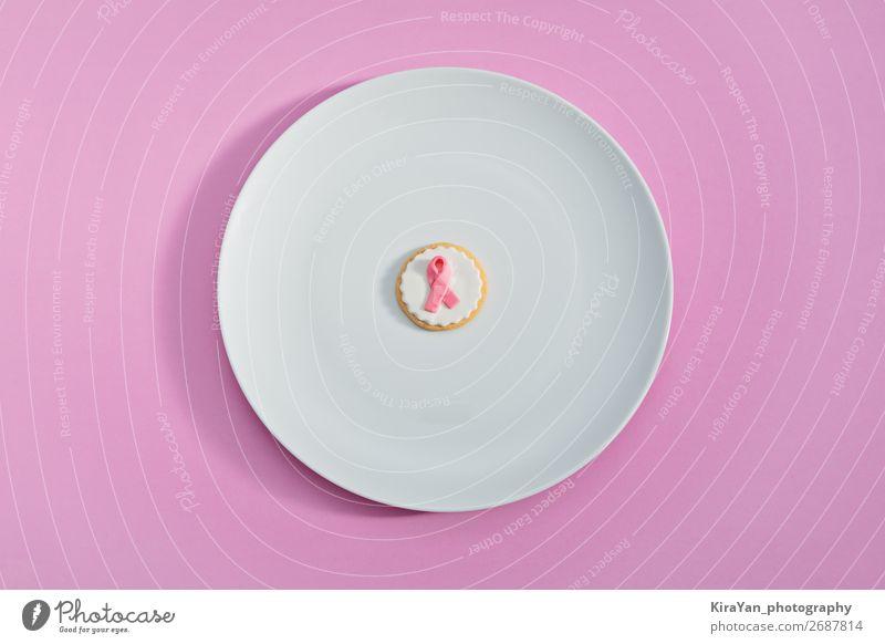 Kekse mit rosa Schleife als Zeichen von Brustkrebs Teller Design Gesundheitswesen Behandlung Frau Erwachsene Frauenbrust Erde Schnur weiß Hoffnung Krebs