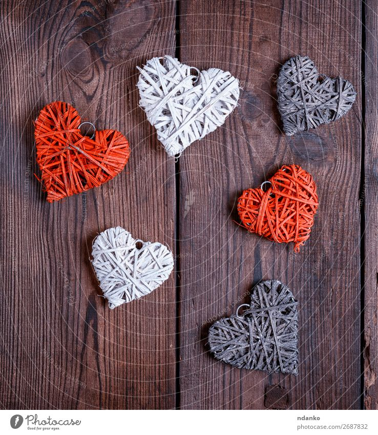Weidenkorb kleine Herzen, Nahaufnahme Design Dekoration & Verzierung Feste & Feiern Valentinstag Weihnachten & Advent Hochzeit Holz alt Liebe retro braun rot