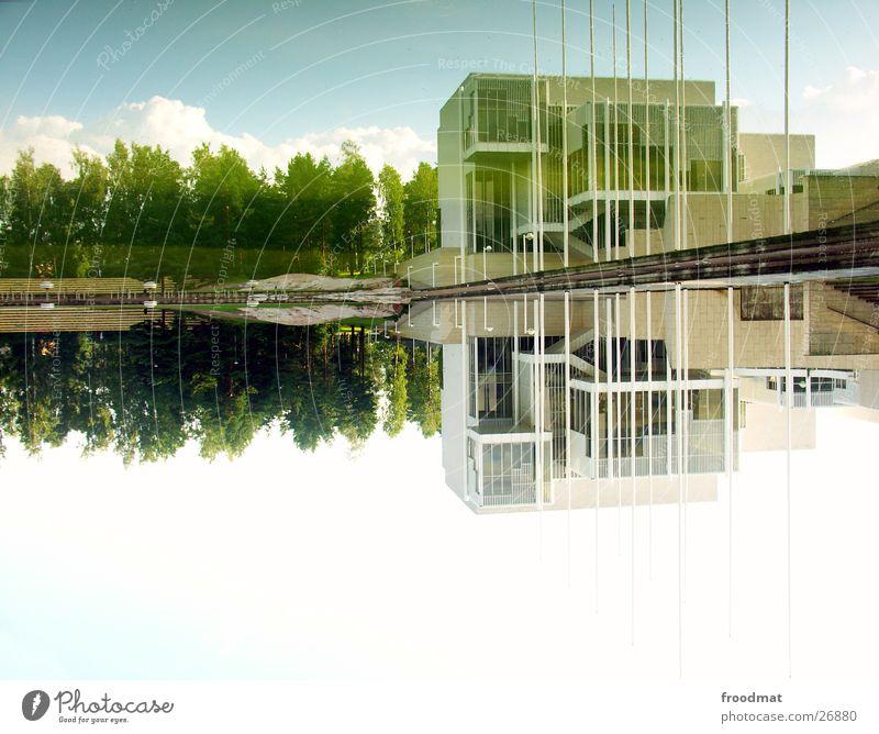 180° Helsinki Finnland weiß Reflexion & Spiegelung gedreht Baum Wolken Architektur häh Wasser Glätte Himmel