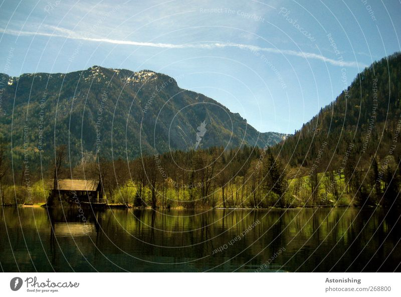 Hütte am See Himmel Natur blau Wasser grün Baum Pflanze Sommer schwarz Wald Umwelt Landschaft Berge u. Gebirge Wärme Holz