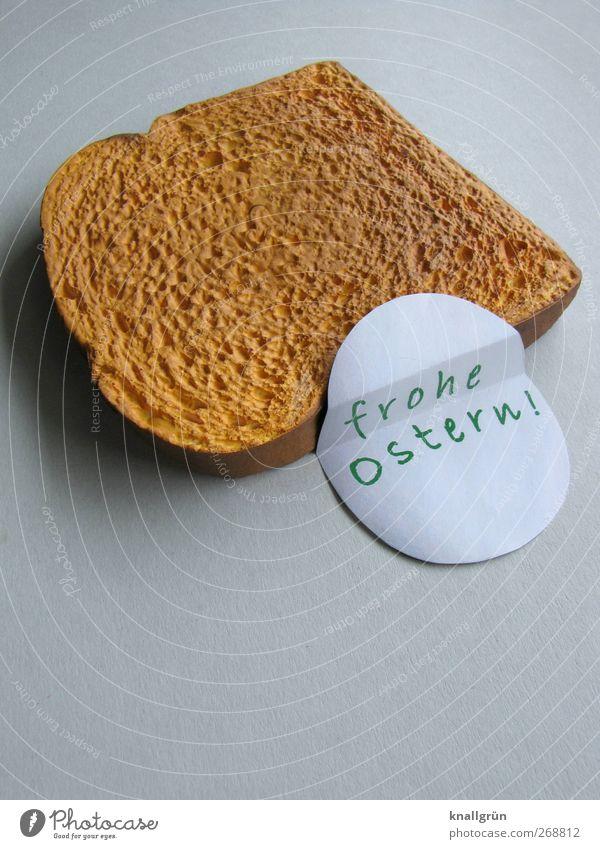 Frohe Ostern! weiß grün Freude Ernährung Lebensmittel braun Kreativität Appetit & Hunger genießen Brot lecker Frühstück Ei eckig Feiertag