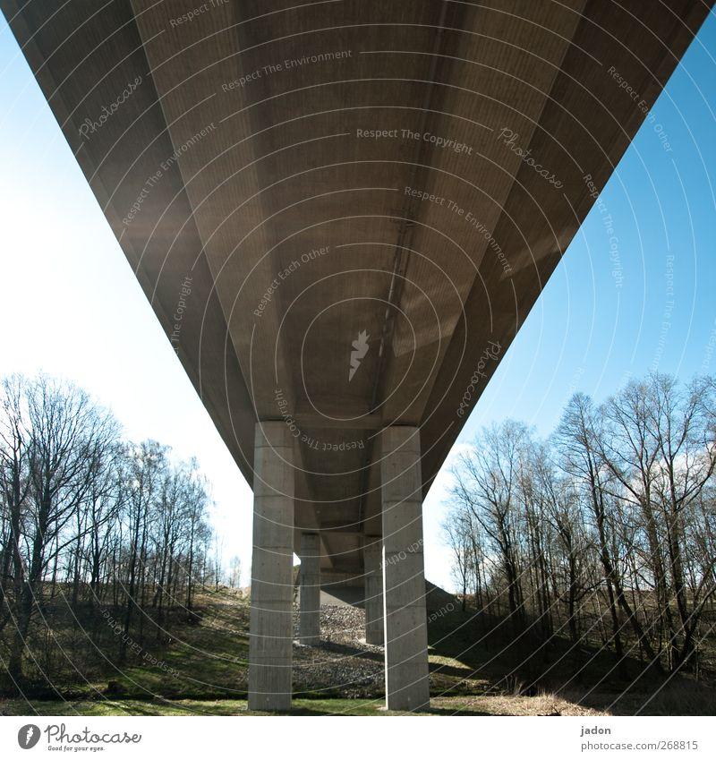 brücken baun. Handwerker Baustelle Technik & Technologie Landschaft Himmel Sonne Schönes Wetter Baum Brücke Bauwerk Architektur Verkehrswege Straßenverkehr