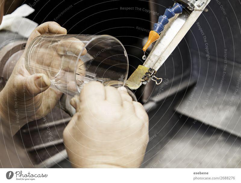 Glasdrehbank Arbeit & Erwerbstätigkeit Beruf Arbeitsplatz Industrie Handwerk Business Werkzeug Maschine Technik & Technologie Mensch Mann Erwachsene Metall