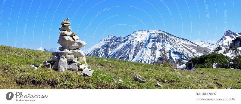 Aiplspitzblick Natur blau weiß grün Ferien & Urlaub & Reisen Sonne Ferne Landschaft Wiese Schnee Berge u. Gebirge Frühling Freiheit Stein Freizeit & Hobby natürlich