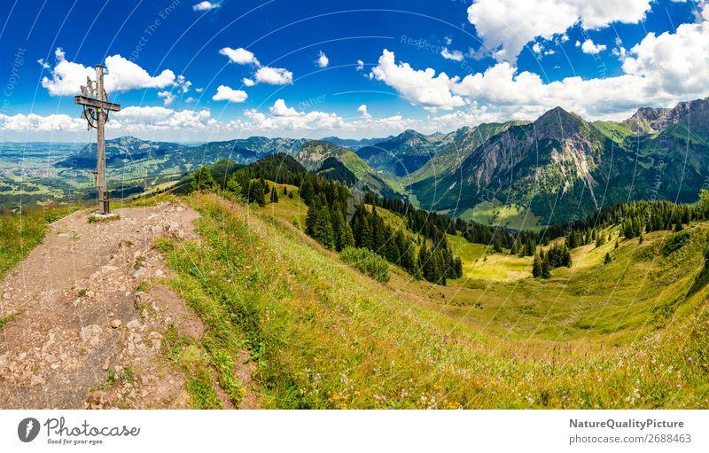 View of the Allgauer Alps - Allgaeu - Bavaria - Germany Mensch Ferien & Urlaub & Reisen Natur Sommer Erholung ruhig Freude Ferne Berge u. Gebirge