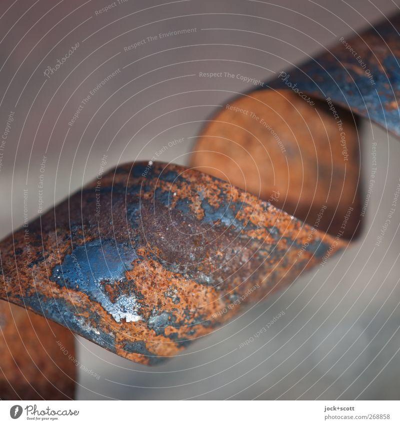 verdrehtes Ding Metall Rost Streifen alt drehen dünn einfach fest kaputt nah rund braun unbeständig ästhetisch Perspektive Schwäche Verfall Oberflächenstruktur