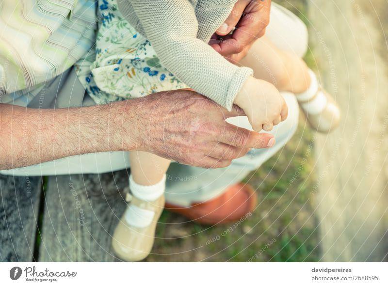 Baby Mädchen hält den Finger der älteren Männerhand. Haut Leben Kind Ruhestand Mensch Frau Erwachsene Mann Eltern Vater Großvater Familie & Verwandtschaft Hand