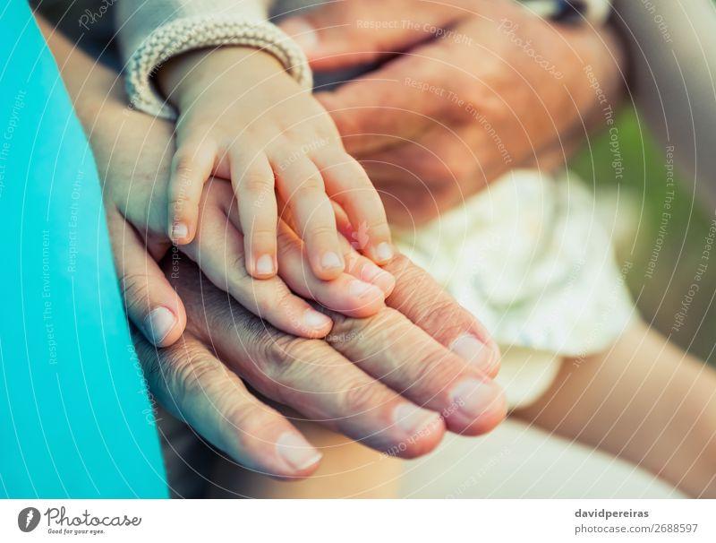 Baby Mädchen, Kind und Senior Mann im Vergleich zur Handgröße Haut Leben Mensch Junge Frau Erwachsene Eltern Vater Großvater Familie & Verwandtschaft Natur alt
