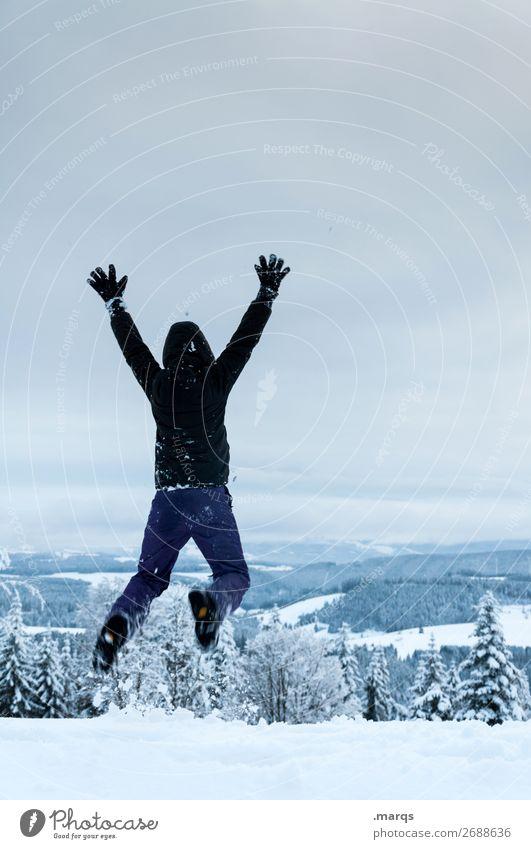 Freudensprung Ferien & Urlaub & Reisen Ausflug Abenteuer Winter Schnee Winterurlaub wandern Mensch 1 18-30 Jahre Jugendliche Erwachsene 30-45 Jahre Landschaft