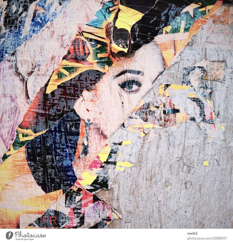 Madame George Frau Erwachsene Kopf Haare & Frisuren Gesicht Auge Ohr 1 Mensch Kunst Subkultur Werbung Werbebranche Papier Fetzen beobachten Blick trashig wild