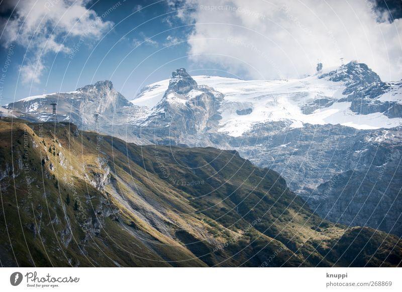 Licht und Schatten (2) Umwelt Natur Landschaft Urelemente Luft Himmel Wolken Sonnenlicht Sommer Herbst Wetter Schönes Wetter Schnee Gras Sträucher Felsen Alpen
