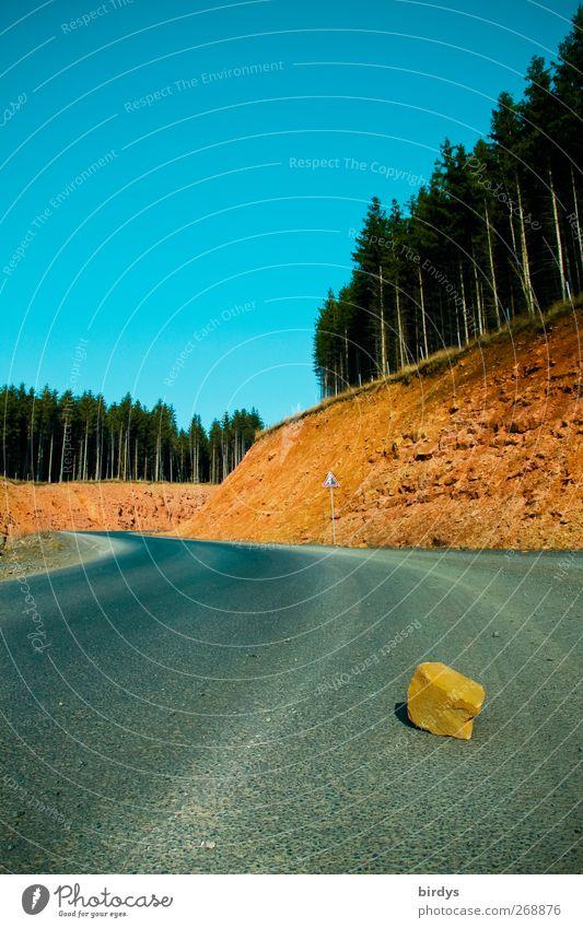 Straße mit Hindernissen Natur Landschaft Wolkenloser Himmel Sommer Schönes Wetter Nadelwald Felsen liegen bedrohlich Originalität blau gelb grau Risiko