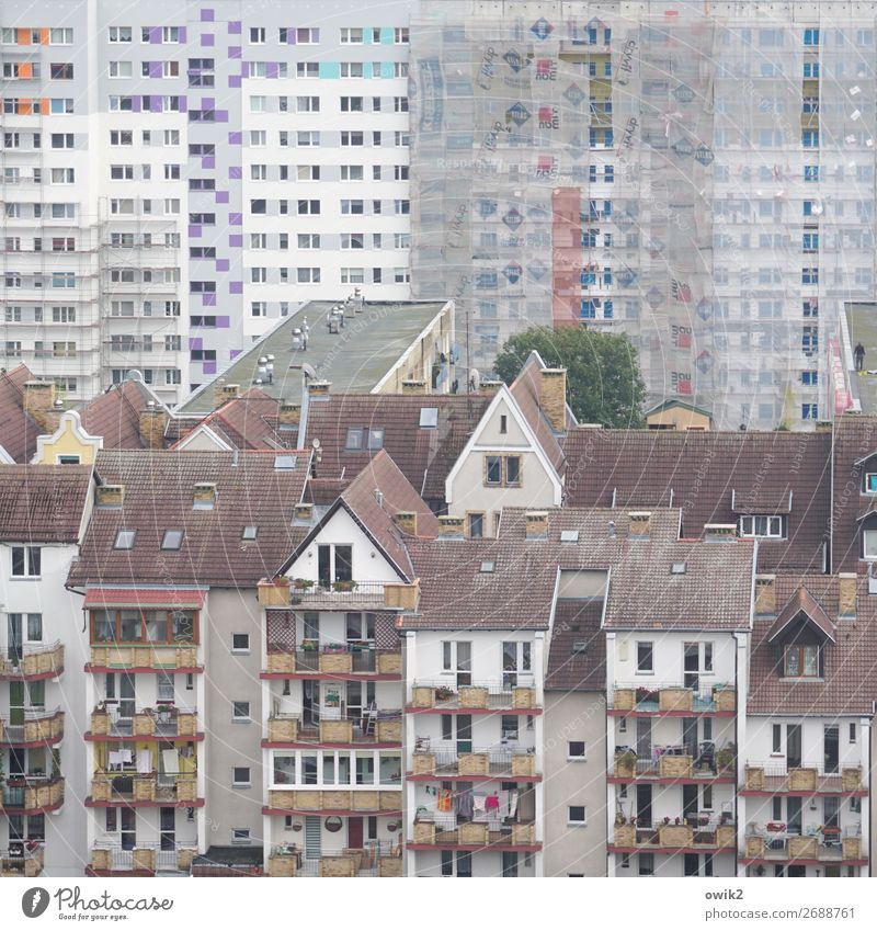 Kommunalka Kolobrzeg Kolberg Polen Osteuropa Kleinstadt Hafenstadt Stadtzentrum Altstadt bevölkert Haus Hochhaus Gebäude Plattenbau Wohnblock Sozialismus