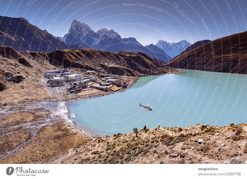 Heli auf Gokyo Ferien & Urlaub & Reisen Tourismus Ausflug Abenteuer Ferne Freiheit Sightseeing Expedition Sommer Berge u. Gebirge wandern Hügel Felsen Himalaya