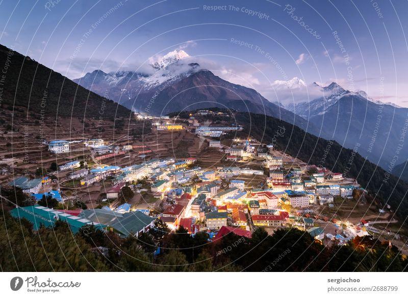 Namche Basar Umwelt Landschaft Wolken Nachthimmel Horizont Klimawandel Baum Hügel Felsen Berge u. Gebirge Himalaya Gipfel Schneebedeckte Gipfel Gletscher