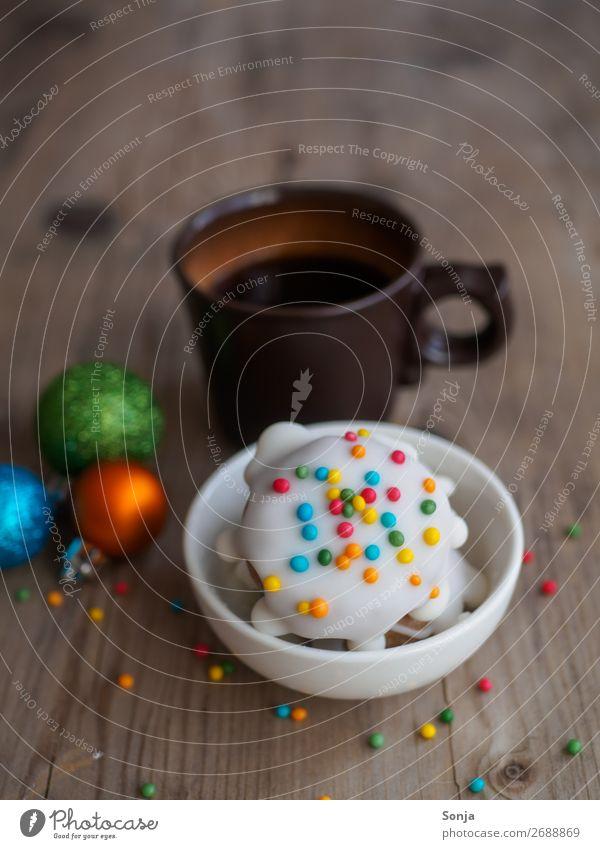 Weihnachten - Kekse mit bunten Struseln und eine Tasse Kaffee Lebensmittel Teigwaren Backwaren Süßwaren Ernährung Getränk Heißgetränk Weihnachten & Advent