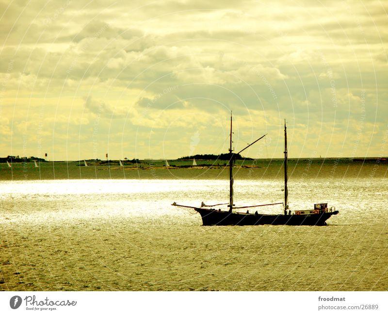 Glitzer Wasser Himmel Wolken Wasserfahrzeug Europa Segel Finnland Helsinki