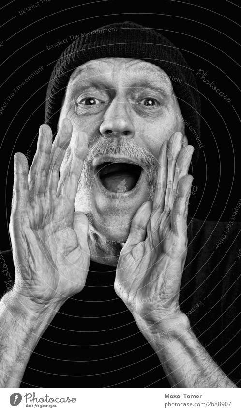 Mensch Mann weiß Hand schwarz Gesicht Erwachsene sprechen Traurigkeit Gefühle verrückt Mund Wut Stress schreien Entwurf