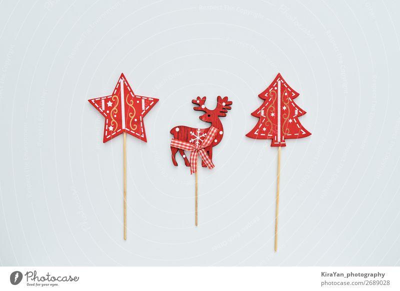 Weihnachten & Advent weiß rot Freude Winter Holz lustig Glück Feste & Feiern Stil Textfreiraum Dekoration & Verzierung retro Fotografie Postkarte Sammlung