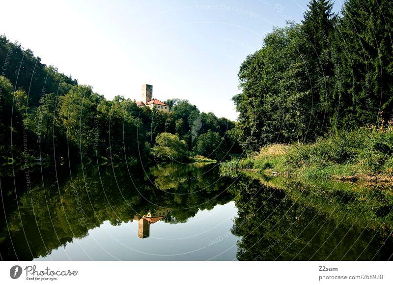 TOP LAGE Ferien & Urlaub & Reisen Sommer Natur Landschaft Wasser Baum Gras Wald See Fluss Haus Burg oder Schloss Bauwerk blau grün ruhig Abenteuer Einsamkeit