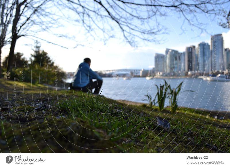 Großstadtidylle Mensch Stadt Einsamkeit ruhig Erholung Wiese Freiheit Park sitzen modern Tourismus Pause einzigartig Idylle Schönes Wetter genießen