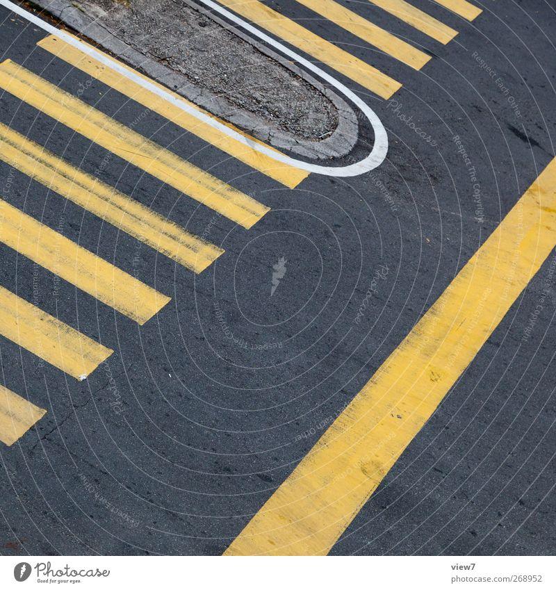 zebra / gelb Straße Wand Stein Mauer Linie elegant Schilder & Markierungen Beginn Beton Design Verkehr modern frisch ästhetisch authentisch