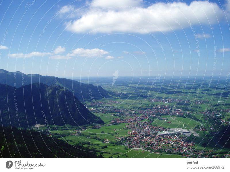 Süddeutschland Sommer Berge u. Gebirge Landschaft Horizont Alpen Gipfel Abenteuer Einsamkeit Idylle Ferien & Urlaub & Reisen Ferne Bayern Deutschland Tal Ebene