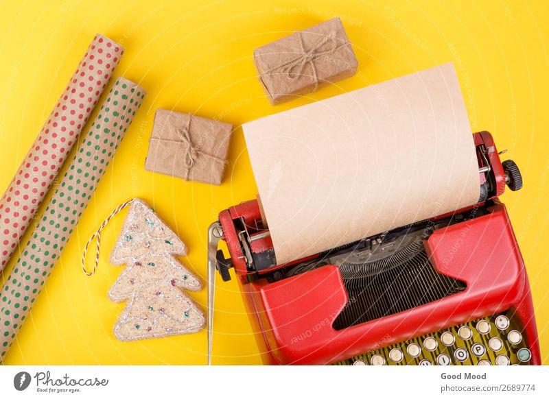 alt Weihnachten & Advent rot Erwachsene gelb Feste & Feiern Business Textfreiraum retro Technik & Technologie Geburtstag Geschenk Zukunft Papier Idee Seil