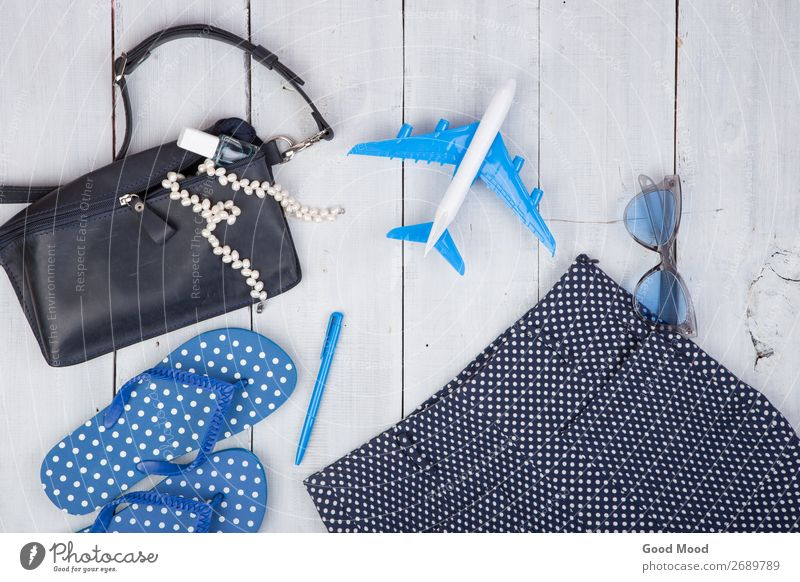 Tasche, Sonnenbrille, Flip Flops, Nagellack und kleines Flugzeug Lifestyle kaufen Stil Erholung Freizeit & Hobby Ferien & Urlaub & Reisen Tourismus Ausflug