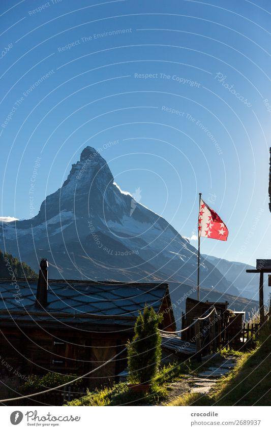 # 767 Schweiz Matterhorn Wahrzeichen Berge u. Gebirge Dorf wandern Mountainbike Trail Wege & Pfade Sonnenuntergang weiches Licht Gipfel Schneebedeckte Gipfel