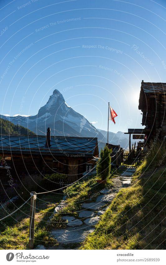 #769 Schweiz Matterhorn Wahrzeichen Berge u. Gebirge Dorf wandern Mountainbike Trail Wege & Pfade Sonnenuntergang weiches Licht Gipfel Wiese friedlich Schnee