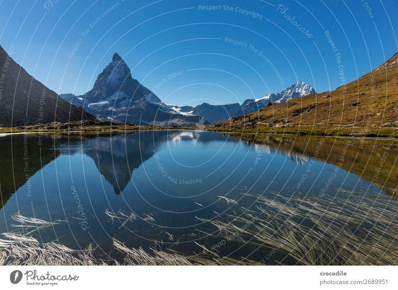 #772 Schweiz Matterhorn Wahrzeichen Berge u. Gebirge Dorf wandern Mountainbike Trail Wege & Pfade Farbfoto weiches Licht Gipfel Wiese friedlich Schnee Gletscher
