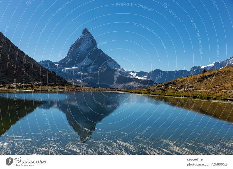 #773 Schweiz Matterhorn Wahrzeichen Berge u. Gebirge Dorf wandern Mountainbike Trail Wege & Pfade Farbfoto weiches Licht Gipfel Wiese friedlich Schnee Gletscher
